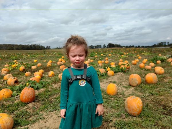 EyeEm Selects Pumpkin Halloween Autumn Children Only Childhood Child Growth Jack O' Lantern Outdoors Cloud - Sky Day People Scarecrow Standing Front View