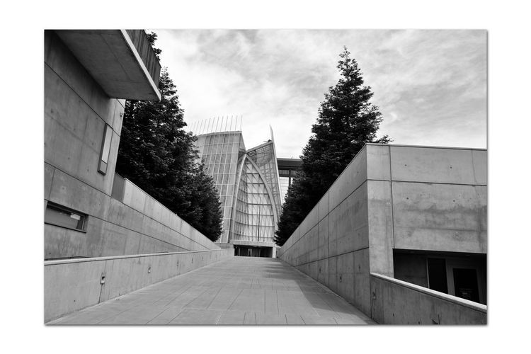 Cathedral of Christ the Light 9 Oakland, Ca. Cathedral Of Christ The Light Roman Catholic Church Architecture Modern Style: Late 20th Century Abstract Architecture_collection Dedicated September 2008 Former Parrish Home, St. Francis De Sales Cathedral Destroyed In The 1989 Loma Prieta Earthquake Architectural Detail Exterior Ceramic Frit, Glass,steel,concrete Monochrome _Photography Monochrome Abstract Black & White Black & White Photography Black And White Black And White Collection  Event Center 5,100 Sq.ft.