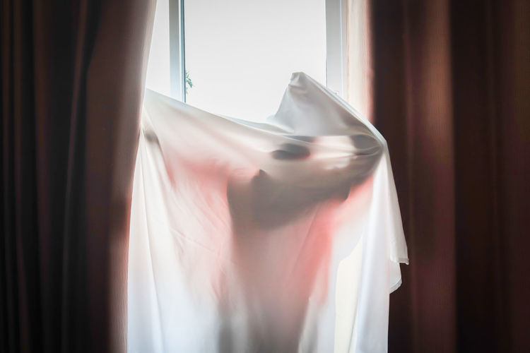 Person covered in white textile standing by window at home