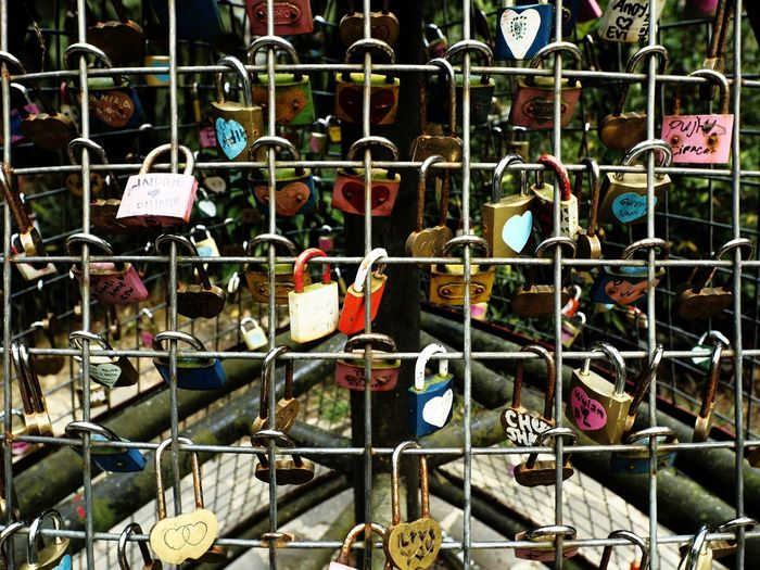 Love lock Metal Large Group Of Objects Hanging Padlock Close-up Full Frame Padlocks Padlocks, Lovers Locks, Promises, True Love, Romance Padlocks Of Love