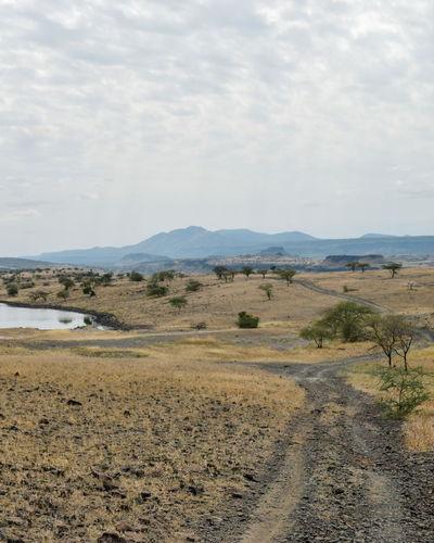 Scenic view of landscape against sky, magadi, rift valley, kenya