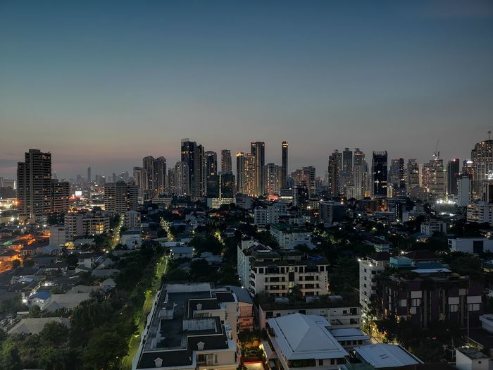Huawei P20pro Thailand Bangkok Thonglor Sunset Landscape Building City Cityscape Urban Skyline Illuminated Modern Skyscraper Sunset Downtown District Business Finance And Industry High Angle View