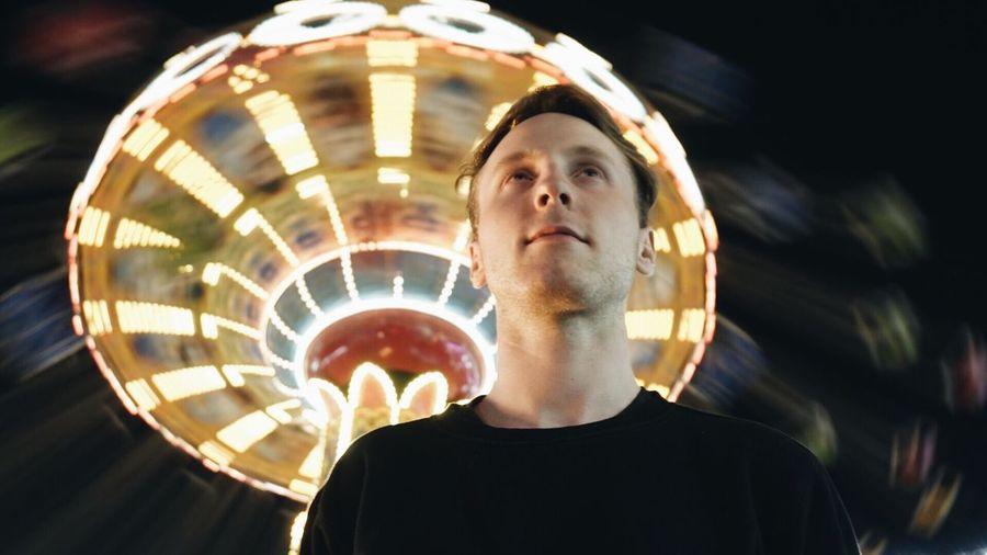 Headshot Real People Illuminated Night Lights Theme Park Lifestyles Carroussel Flying Chair