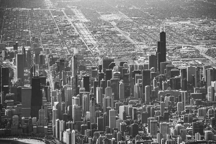 Aerial View Cityscape Architecture City Built Structure Building Exterior Building Skyscraper Crowd Office Building Exterior Crowded Tall - High Tower Modern Financial District  Landscape Day High Angle View Residential District Urban Skyline Outdoors Urban Sprawl Spire  Black And White B&w