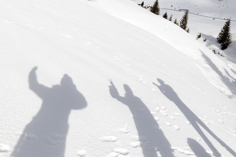 Shadow of people on snow covered land