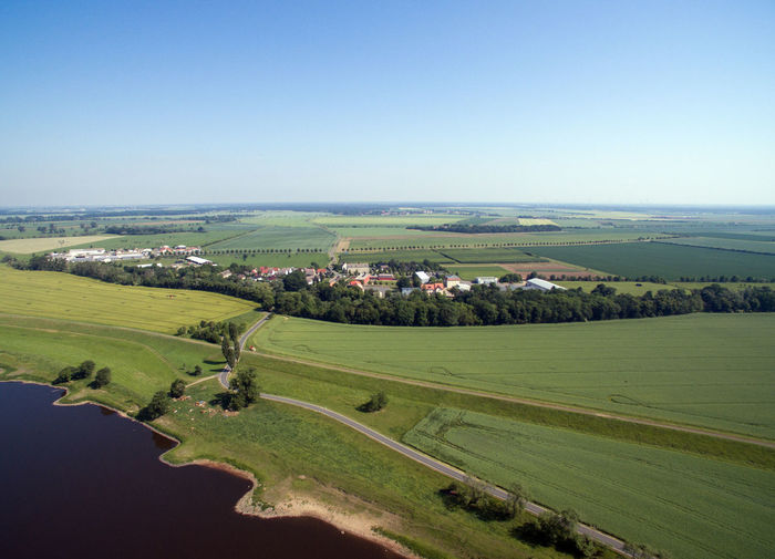 aerial view Landscape Aerial View Aerial Shot Aerial Photography Blue Sky Elbe Elbe River Drone  Dronephotography Tree Rural Scene Irrigation Equipment Agriculture Field Rice Paddy Crop