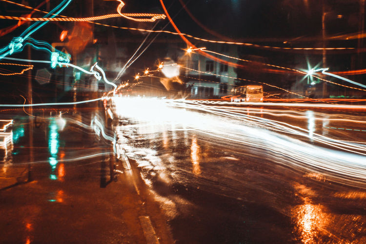 Light trails on street at night