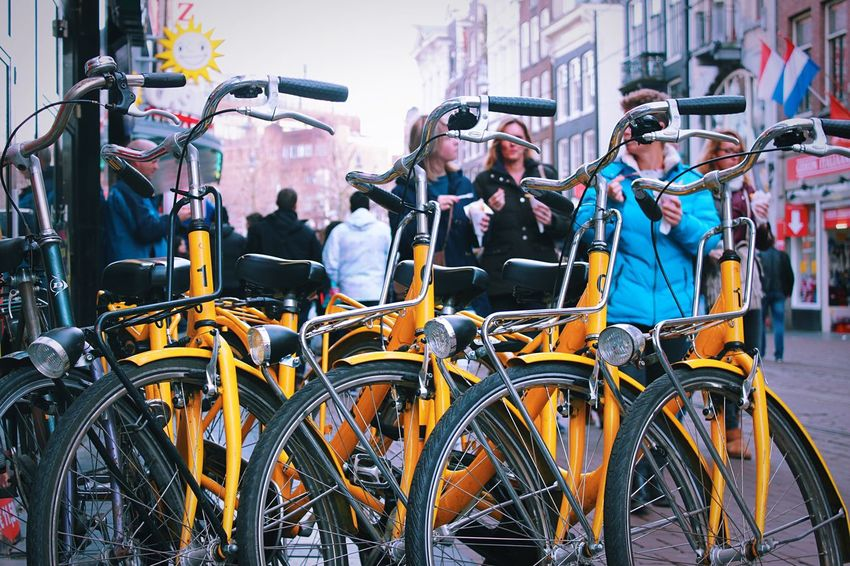 Streetphotography Vscocam Bike Going Dutch Amsterdam City Urban Yellow People Holland EyeEm Best Shots From My Point Of View First Eyeem Photo