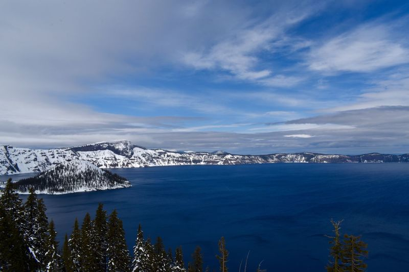 Crater Lake 2 Nikon5600 Wanderlust Crater Lake Sky Beauty In Nature Cloud - Sky Scenics - Nature Winter Cold Temperature Snow Tree Water Mountain Plant Nature Tranquil Scene Tranquility No People Day Non-urban Scene Outdoors Snowcapped Mountain The Great Outdoors - 2019 EyeEm Awards