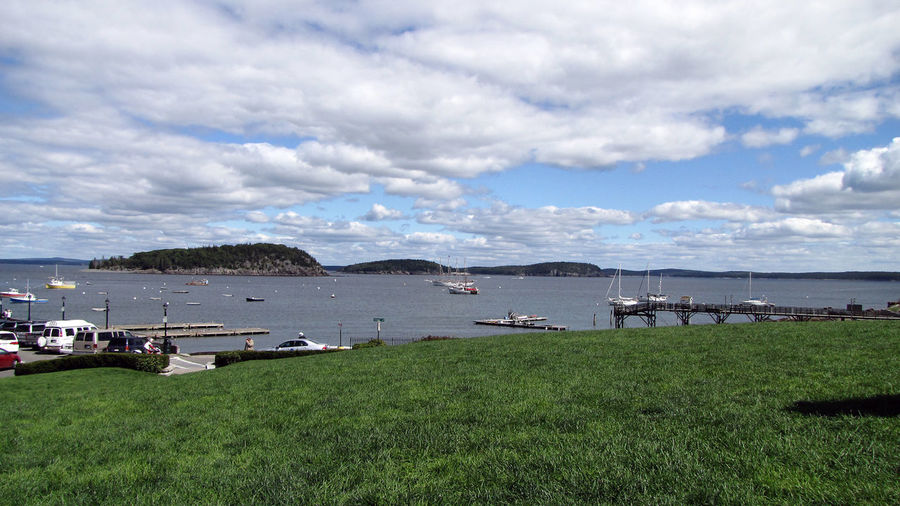 Architecture Bar Harbor, Maine Beauty In Nature Building Exterior Built Structure Cloud - Sky Day Grass Green Color Horizon Over Water Landscape Maine Mountain Nature Nautical Nautical Vessel No People Outdoors Scenics Sea Seaport Sky Tranquility Transportation Water