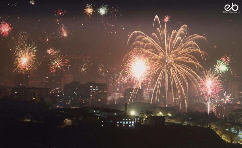 Hello World New Year Around The World New Year's Eve Fireworks New Year 2016 Night View Kosovo Kosova Kosovska Mitrovica Mitrovic