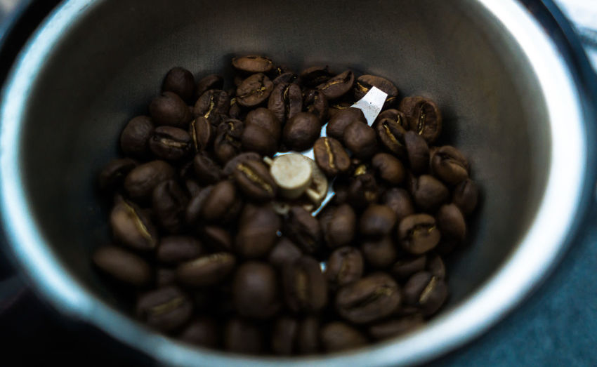 High Angle View Of Coffee Beans In Container