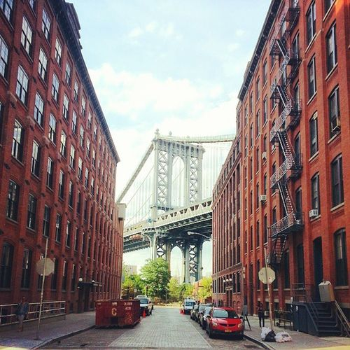 Manhattan Bridge from the client of Washington and Water streets. Rise Lux Contrast NYC NewYorkCity Brooklyn DUMBO igers igersnyc