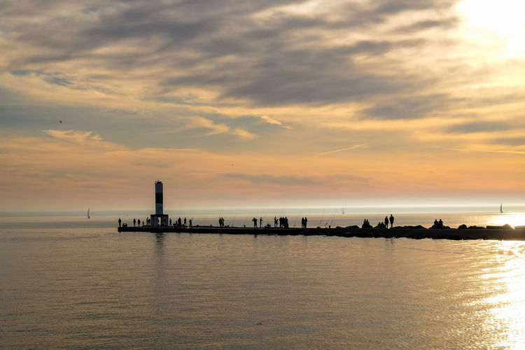 Sky Water Sunset Cloud - Sky Scenics - Nature Sea Beauty In Nature Waterfront Orange Color Tranquility Tranquil Scene Horizon Over Water Horizon Nature Transportation Pier Nautical Vessel Idyllic Reflection No People Outdoors Lake Lake Michigan