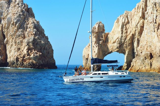 cabo san lucas Water Sea Rock - Object Nautical Vessel Transportation Mode Of Transport Rock Formation Blue Boat Clear Sky Cliff Travel Tourism Tranquil Scene Scenics Waterfront Horizon Over Water Vacations Nature Tranquility Elarco Cabo San Lucas Mexico
