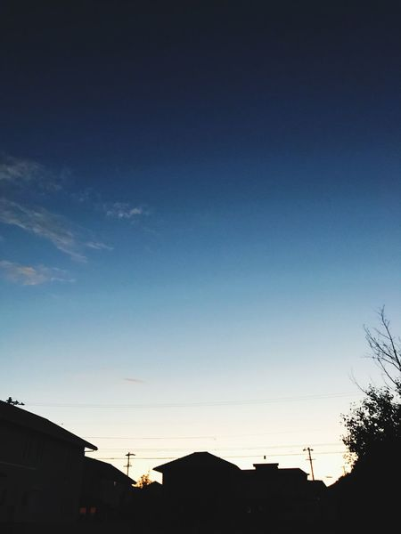 Silhouette Built Structure Architecture Building Exterior Blue No People House Outdoors Sky Residential Building Low Angle View Nature Beauty In Nature Tree Day Vapor Trail Autumn Japan IPhoneography 夕刻 グラデーション