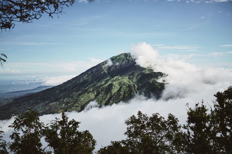 First shot from our Merapi hike Volcano Mountain Merbabu Mountain Hiking Merapi Blue Sky Clouds Tropical Climate Green Trees Trekking View Landscape Nature INDONESIA Java Travel Outdoors The Great Outdoors With Adobe My Year My View The Great Outdoors - 2017 EyeEm Awards Lost In The Landscape An Eye For Travel