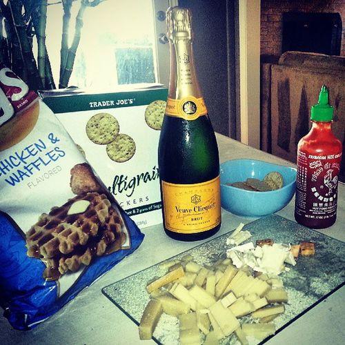 Stay classy San Diego Classy Champagneshowers Sirachamakeseverythingbetter Chickenanwaffles throwsomecheeseonit