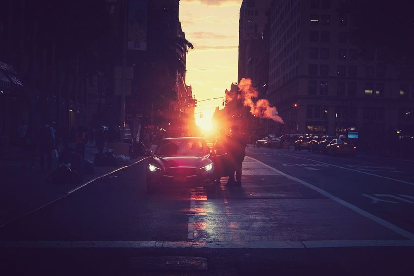 City of steam Steam The Street Photographer - 2018 EyeEm Awards Architecture City City Life Lens Flare Road Sky Sunset