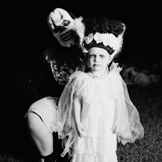 Monochrome Photography Two People Looking At Camera Portrait People Stage Make-up Clowns Halloween Dressing Up Childhood Outdoors Full Length Little Girls Halloween_Collection Boys Child Clown Fantasy Frankenstein