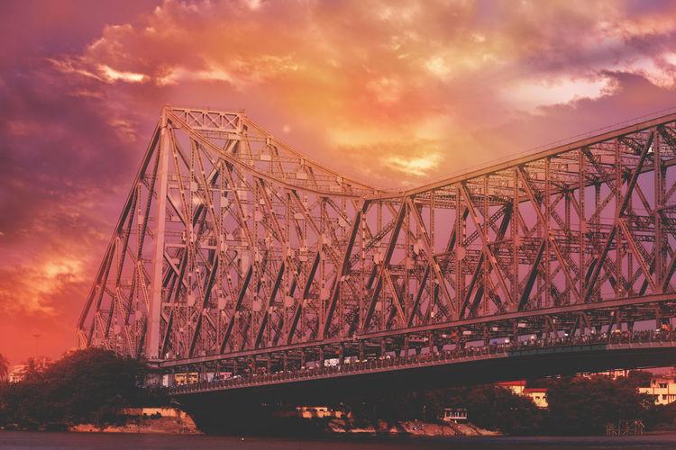 #cityofjoy #howrahbridge #kolkata #landscape Architecture Bridge - Man Made Structure Cloud - Sky Sky Sunset Suspension Bridge
