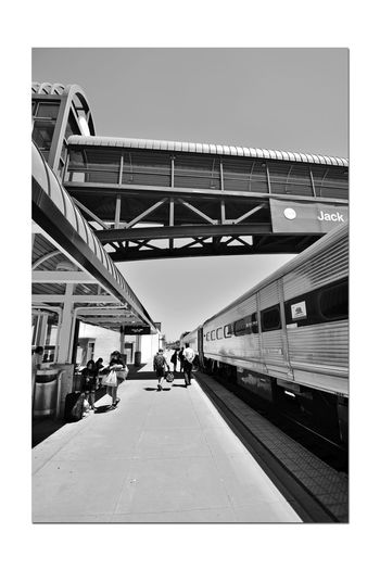Train Platform 1 C.L. Dellums Amtrak Station Okj Est. 1995 Port Of Oakland,Ca. Jack London Square Passengers Boarding All Aboard Platform & Track Amtak Train Pedestrian Crossing Overpass Monochrome_Photography Monochrome Black & White Black & White Photography Black And White Black And White Collection  Shadows Lines: Capital Corridor,Coast Starlight,San Joaquin Rail Transportation Railroad_Photography Architecture Built Structure Sky Railway Station Platform Awning Passenger Train