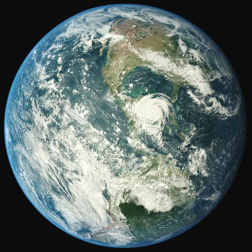 Hello World Earth From Space Rendering Planet Earth Beatiful Planet Mother Nature Storm Clouds Cyclone Typhoon Hurricane Patricia