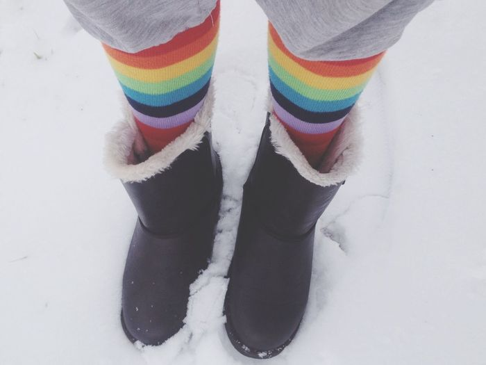 Rainbow Socks Snow Random Selfie Outside