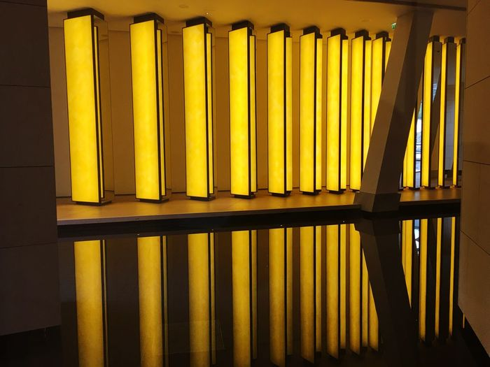 I love the lights Paris Yellow Lights Fondation Louis Vuitton  Yellow No People Indoors  Day Illuminated Close-up
