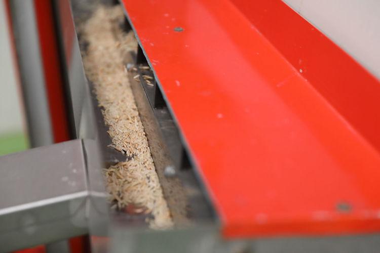 High angle view of food on metal railing
