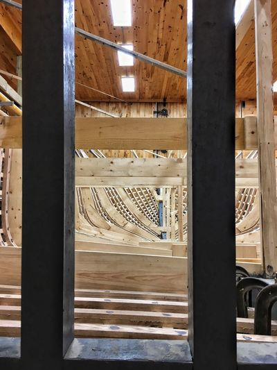 Indoors  Day No People Architecture Illuminated Part Of Boat Boat Shop Boat Building Tranquil Scene Work Wood Clamps Cradle  Change Built Structure Fragility New