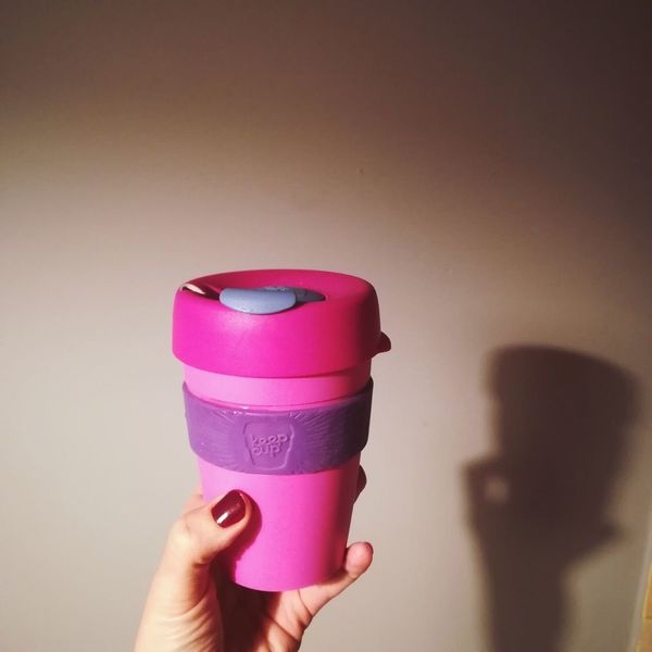 Almondmilk Keepcup Coffee CoffeTime Goodnight Coffee Cup Human Hand Human Body Part Pink Color Holding One Person Personal Perspective Human Finger