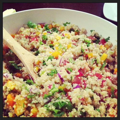 I made quinoa salad! Under the influence of a lot of wine LOL Drunkcooking