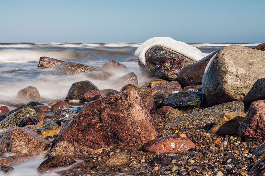 Groyne on the Baltic Sea coast. Baltic Sea Beach Coast Day Groyne Kühlungsborn Nature No People Outdoors Rocks Sea Shore Sky Stones Wave