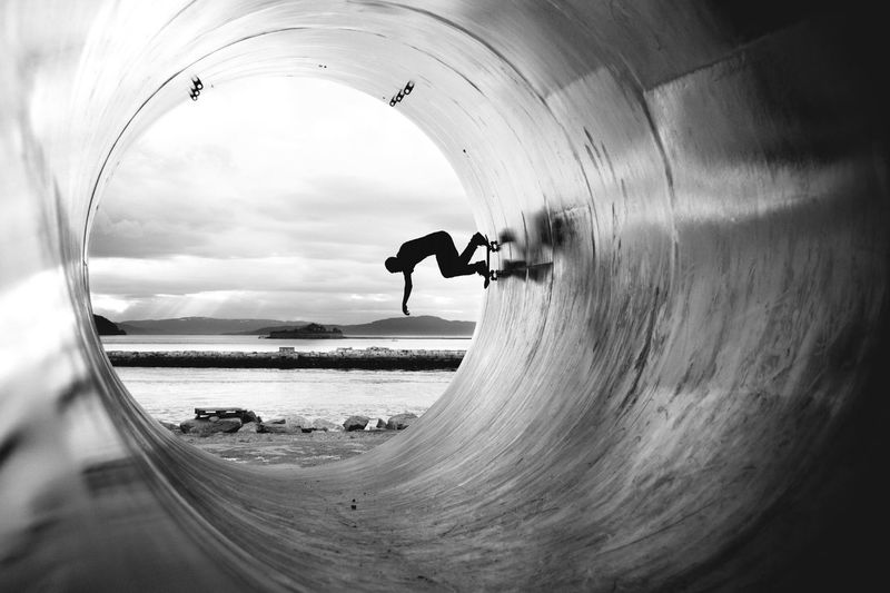 Powerslide, fullpipe 007 Black & White Blackandwhite Clouds And Sky Cloudy Contrast Light Metal Nature Nature Norway Ocean Pipe Reflection Scenics Sea Shore Silhouette Skate Skateboard Sky Trondheim Water Market Bestsellers October 2016
