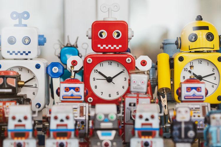 Close-up of alarm clocks