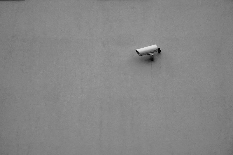 Camera EyeEm Selects High Angle View No People Copy Space Day Built Structure Single Object Gray Communication Technology Wall - Building Feature Connection Textured  Security Camera Architecture Still Life Wall