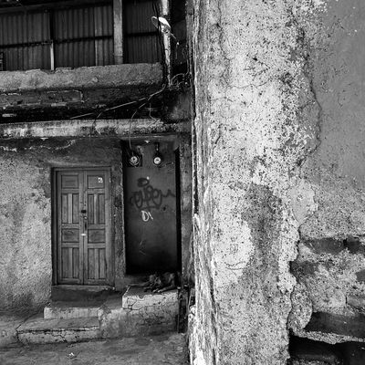 Abandoned Door Architecture Built Structure No People Day Blackandwhite Mexico Outdoors Guanajuato Old Town Dog