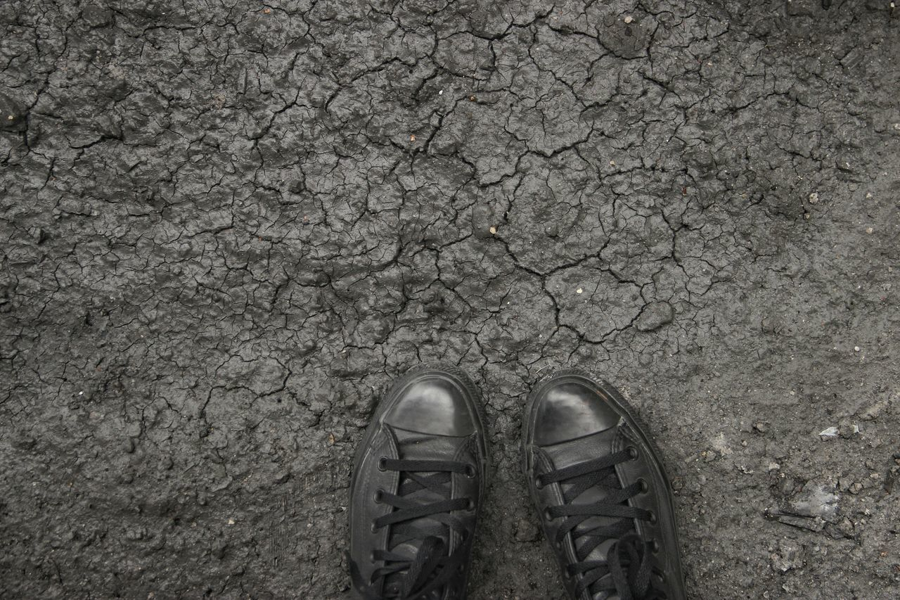 High angle view of shoes on cracked field