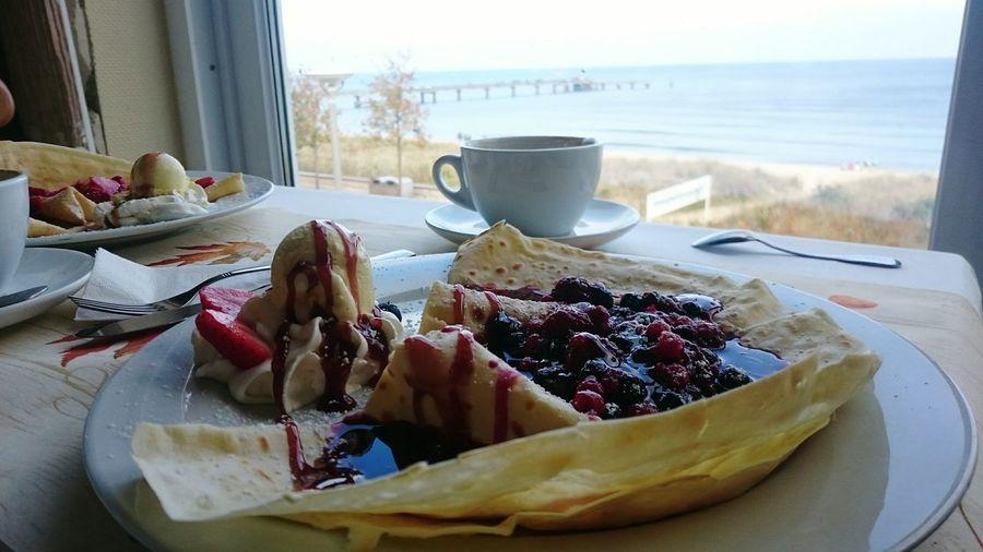 Food Table Sweet Food Temptation Indulgence Crepe Crep Coffee Coffee Cup Breakfast By The Beach Sea View Rügen Enjoying Myself