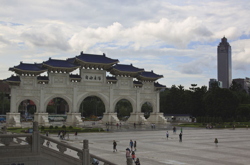 Chiang Kai-shek Memorial Hall (Liberty Square) Arch Architectural Column Architecture ASIA Built Structure Capital Cities  Chiang-Kai Shek Memorial China City City Life Cloud - Sky Day Façade Formosa History Kaohsiung Leisure Activity Lifestyles Orient Rock Sky Taipei Taiwan Tourist Travel Destinations