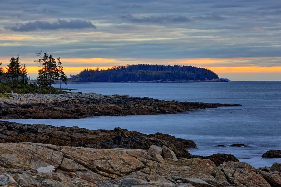 coast of maine Maine DownEast Port Clyde, ME Tree Water Sea Sunset Beach Low Tide Sunlight Sky Horizon Over Water Rocky Coastline Seascape Rugged