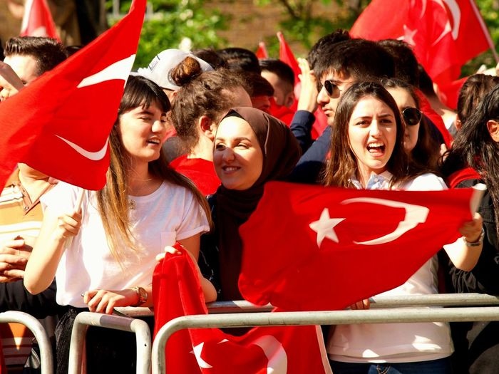 Pro Erdogan protest. Whitehall. London 15/05/2018 Turkish president Erdigan visiting london, protest outside of Downing Street. Protest Turkey Protesters Zuiko Whitehall London News Steve Merrick Erdogan Protest Olympus London Turkish Protest Erdogan Stevesevilempire Group Of People Red Happiness Emotion Women Friendship Togetherness