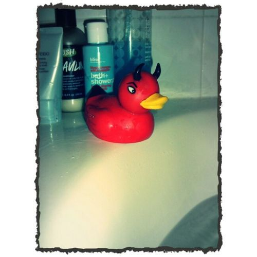 This is Arthur, my bath time buddy. Rubberduck Bath Devilduck