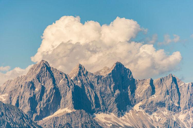 View of hoher dachstein and mountains massif dachstein.  upper austria, steiermark.