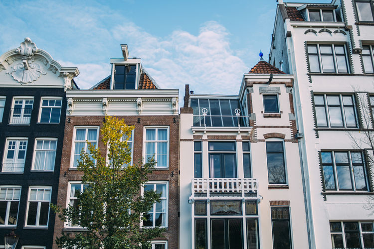 Building Exterior Architecture Built Structure Window Façade Residential District Low Angle View Building Row House City Amsterdam Netherlands