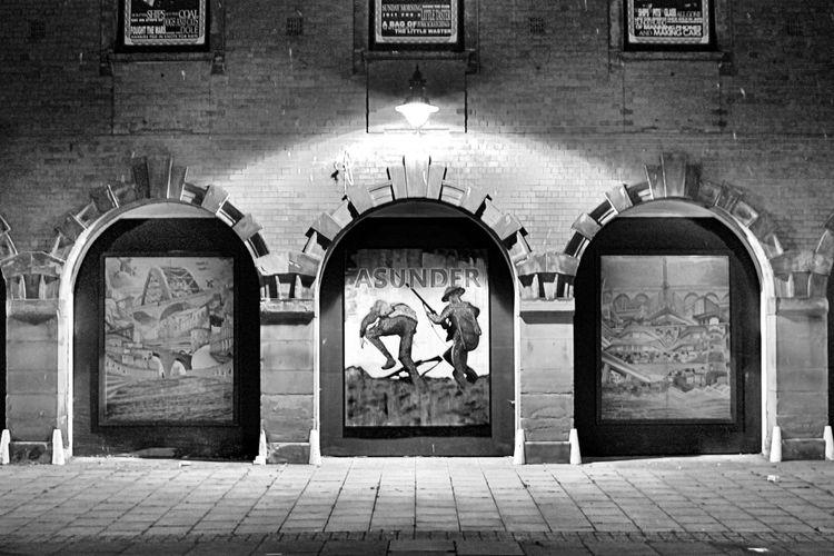 Arch Architecture Asunder Black And White Built Structure Close-up Fire Sation Grainy Human Representation Illuminated Night Photography No People Outdoors Street Streetphotography EyEmNewHere Sunderland City Art Wear Bridge Art Is Everywhere The Architect - 2017 EyeEm Awards Neighborhood Map