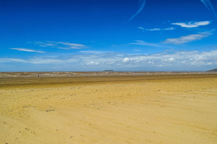Sky Cloud - Sky Land Scenics - Nature Tranquil Scene Tranquility Beauty In Nature Non-urban Scene Sand Blue Landscape Nature Day No People Environment Horizon Outdoors Arid Climate Beach Photography Blue Sky Horizon Over Water Steep Holm Horizon Over Land Space For Text Space For Copy