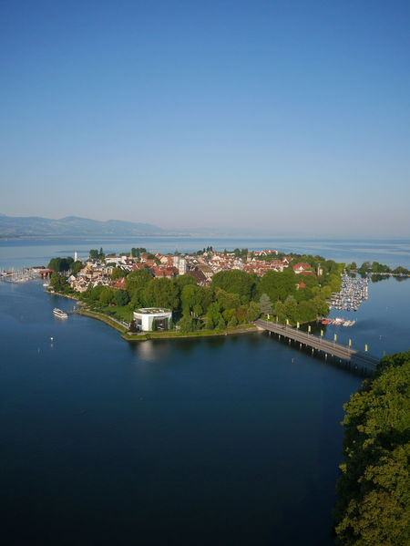 Aerial view of island Lindau in the Lake Constace. Luftbild der Insel Lindau im Bodensee. Lake Constance Lindau Lindau Bodensee Architecture Blue Bodensee Bodenseeregion Building Exterior Built Structure City Cityscape Clear Sky Day High Angle View Island Lindau Insel Nature No People Outdoors River Sky Tree Water