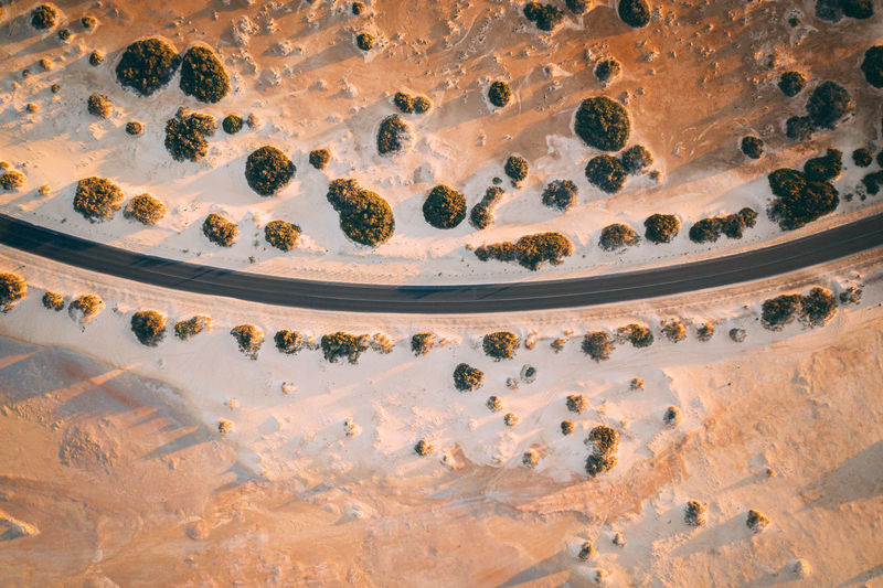 This is an aerial drone camera shot of the main road and vehicle driving during sunset. Road Path Way Highway Travel Above Landscape Nature Natural Asphalt Curve Beautiful Environment Destination Outdoor Rural Background Trip Country Transport Top View Transportation Aerial Countryside Journey View Through Traffic Pass Field Adventure Birdseye Drone  Pattern Golden Curves Drive Curvy Sunset Route Desert Arid Fuerteventura Sand Sandy Summertime Travel Destinations High Angle View